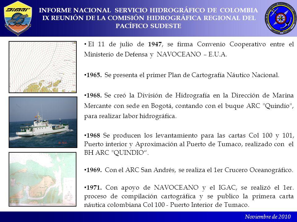 Noviembre de 2010 El 11 de julio de 1947, se firma Convenio Cooperativo entre el Ministerio de Defensa y NAVOCEANO – E.U.A. 1965. Se presenta el prime