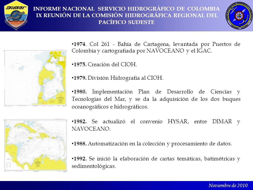 Noviembre de 2010 1974. Col 261 - Bahía de Cartagena, levantada por Puertos de Colombia y cartografiada por NAVOCEANO y el IGAC. 1975. Creación del CI