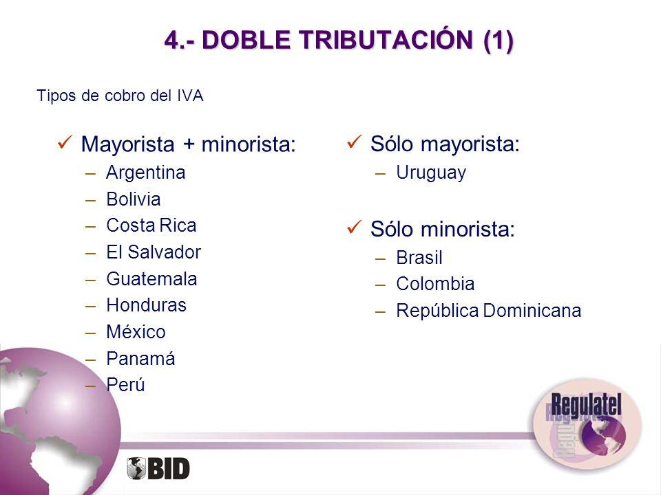 4.- DOBLE TRIBUTACIÓN (1) Tipos de cobro del IVA Mayorista + minorista: –Argentina –Bolivia –Costa Rica –El Salvador –Guatemala –Honduras –México –Pan