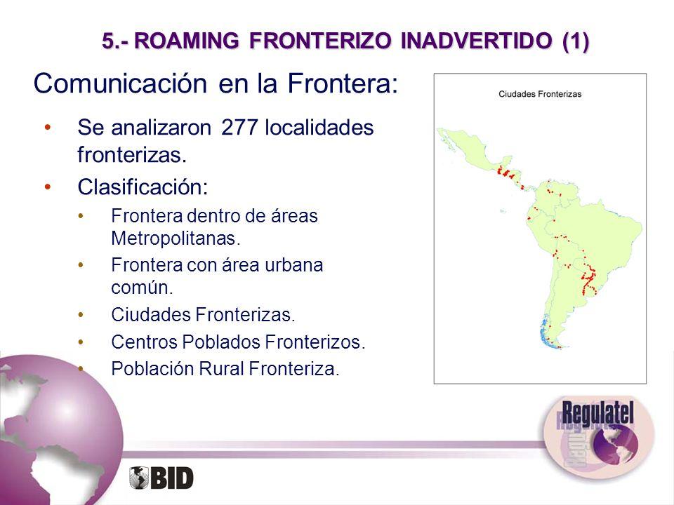 5.- ROAMING FRONTERIZO INADVERTIDO (1) Comunicación en la Frontera: Se analizaron 277 localidades fronterizas. Clasificación: Frontera dentro de áreas