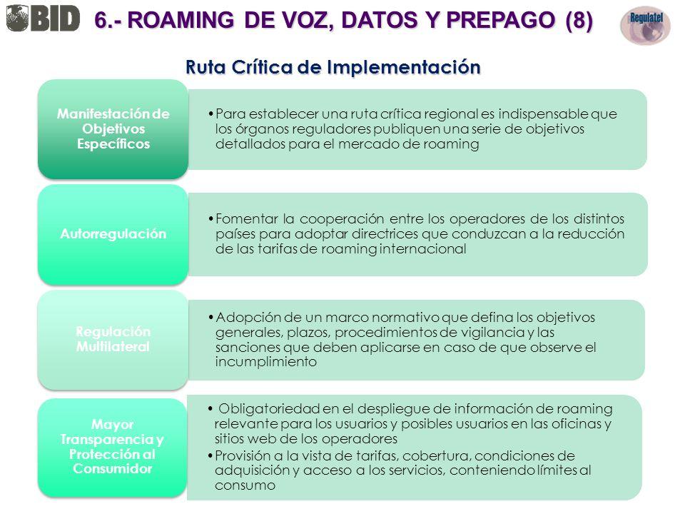 Ruta Crítica de Implementación Para establecer una ruta crítica regional es indispensable que los órganos reguladores publiquen una serie de objetivos