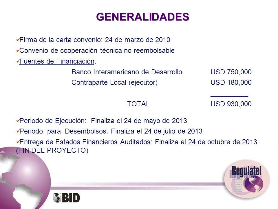 GENERALIDADES Firma de la carta convenio: 24 de marzo de 2010 Convenio de cooperación técnica no reembolsable Fuentes de Financiación: Banco Interamer