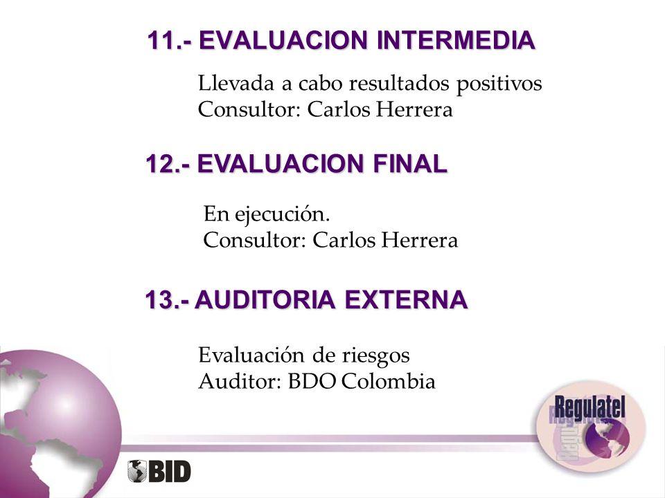 11.- EVALUACION INTERMEDIA 12.- EVALUACION FINAL 13.- AUDITORIA EXTERNA Llevada a cabo resultados positivos Consultor: Carlos Herrera En ejecución. Co