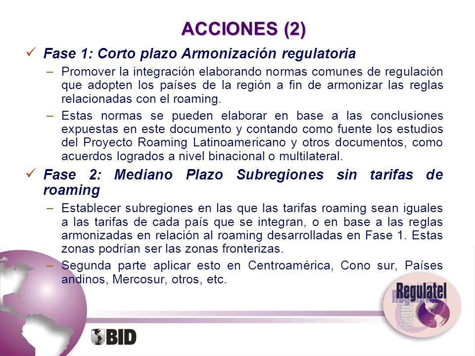 ACCIONES (2) Fase 1: Corto plazo Armonización regulatoria –Promover la integración elaborando normas comunes de regulación que adopten los países de l