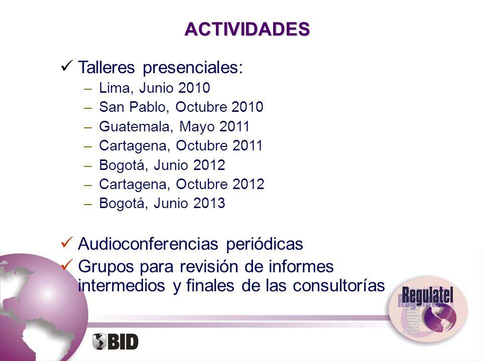 ACTIVIDADES Talleres presenciales: –Lima, Junio 2010 –San Pablo, Octubre 2010 –Guatemala, Mayo 2011 –Cartagena, Octubre 2011 –Bogotá, Junio 2012 –Cart