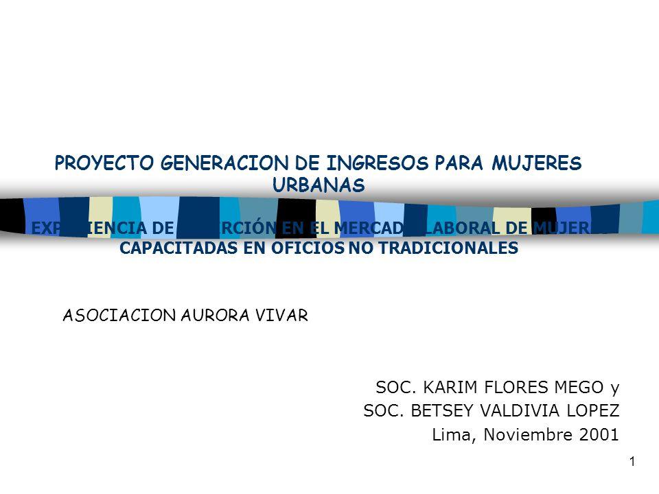 1 PROYECTO GENERACION DE INGRESOS PARA MUJERES URBANAS EXPERIENCIA DE INSERCIÓN EN EL MERCADO LABORAL DE MUJERES CAPACITADAS EN OFICIOS NO TRADICIONAL