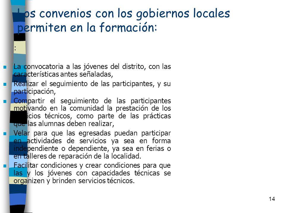 14 Los convenios con los gobiernos locales permiten en la formación: : n La convocatoria a las jóvenes del distrito, con las características antes señ