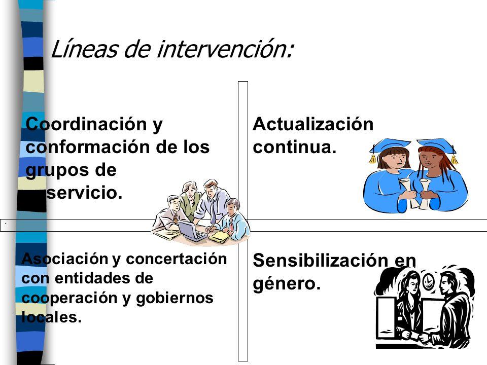 18 Líneas de intervención: Coordinación y conformación de los grupos de servicio. Actualización continua. Asociación y concertación con entidades de c
