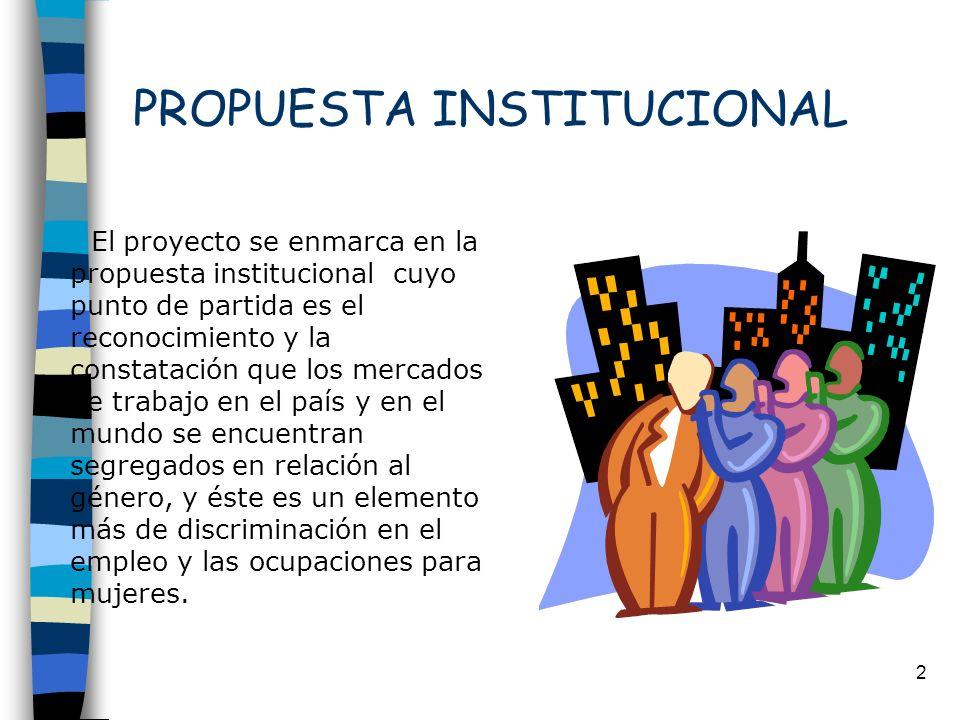 2 PROPUESTA INSTITUCIONAL El proyecto se enmarca en la propuesta institucional cuyo punto de partida es el reconocimiento y la constatación que los me