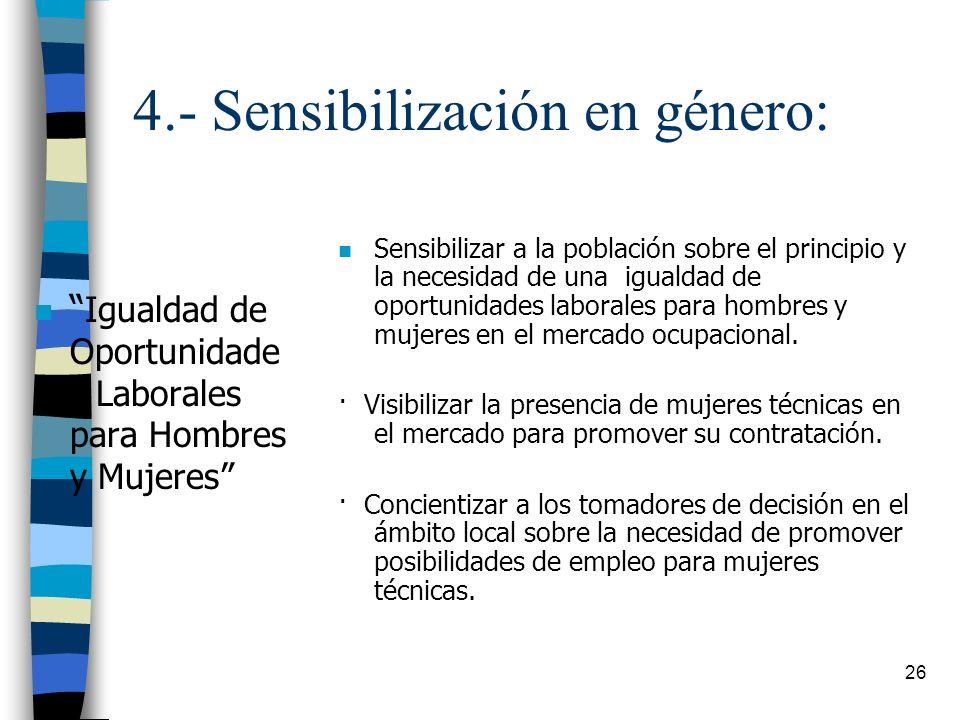 26 4.- Sensibilización en género: n Igualdad de Oportunidade s Laborales para Hombres y Mujeres n Sensibilizar a la población sobre el principio y la