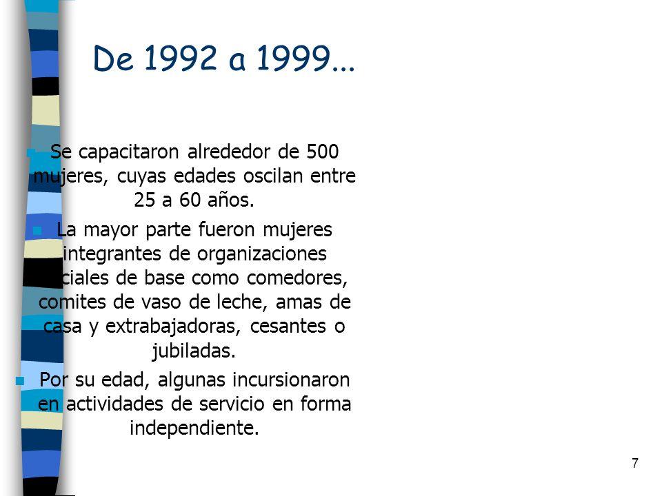 7 De 1992 a 1999... n Se capacitaron alrededor de 500 mujeres, cuyas edades oscilan entre 25 a 60 años. n La mayor parte fueron mujeres integrantes de