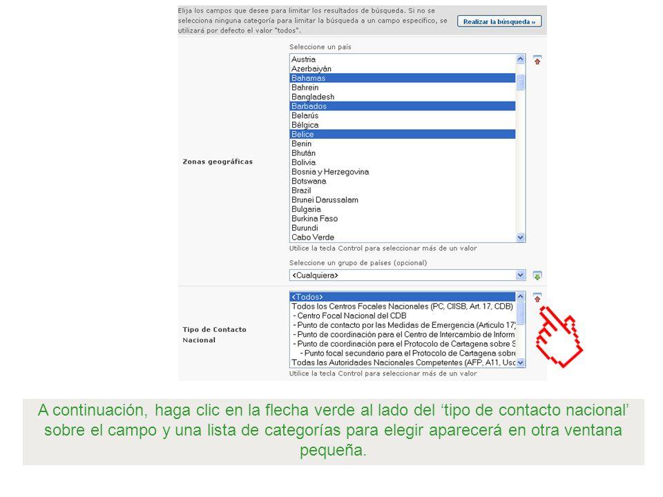 A continuación, haga clic en la flecha verde al lado del tipo de contacto nacional sobre el campo y una lista de categorías para elegir aparecerá en o