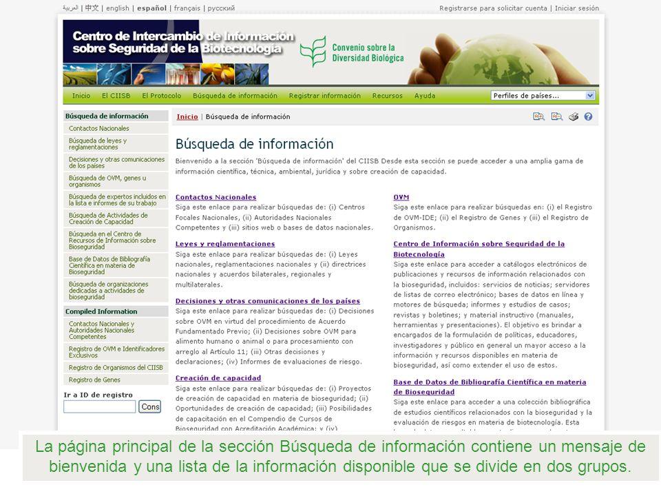 La página principal de la sección Búsqueda de información contiene un mensaje de bienvenida y una lista de la información disponible que se divide en