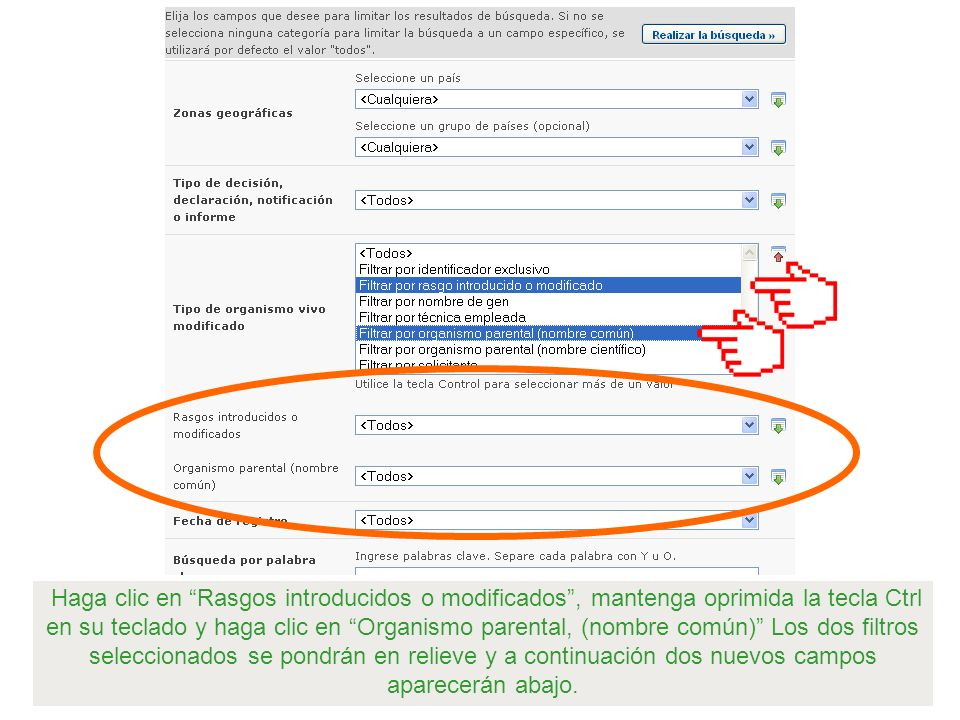 Haga clic en Rasgos introducidos o modificados, mantenga oprimida la tecla Ctrl en su teclado y haga clic en Organismo parental, (nombre común) Los do