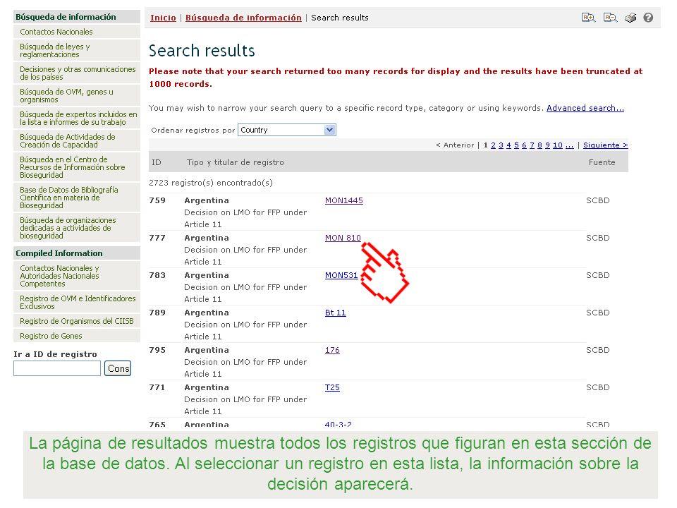 La página de resultados muestra todos los registros que figuran en esta sección de la base de datos. Al seleccionar un registro en esta lista, la info
