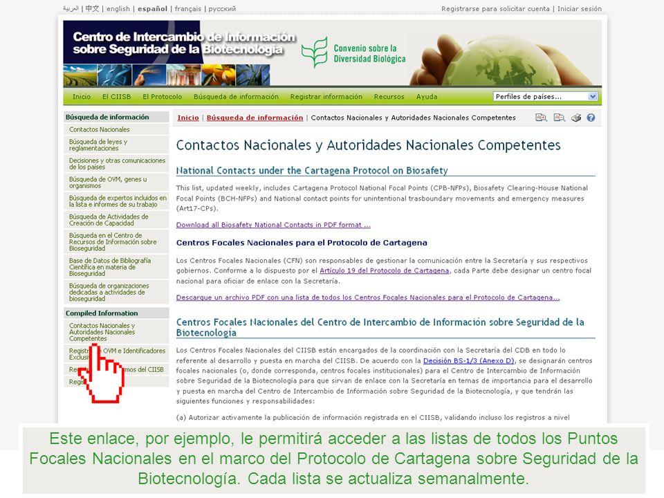 Este enlace, por ejemplo, le permitirá acceder a las listas de todos los Puntos Focales Nacionales en el marco del Protocolo de Cartagena sobre Seguri