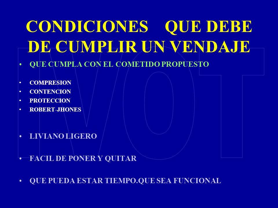 CONDICIONES QUE DEBE DE CUMPLIR UN VENDAJE QUE CUMPLA CON EL COMETIDO PROPUESTO COMPRESION CONTENCION PROTECCION ROBERT-JHONES LIVIANO LIGERO FACIL DE