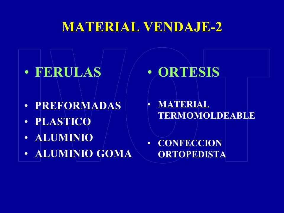 MATERIAL VENDAJE-2 FERULAS PREFORMADAS PLASTICO ALUMINIO ALUMINIO GOMA ORTESIS MATERIAL TERMOMOLDEABLE CONFECCION ORTOPEDISTA