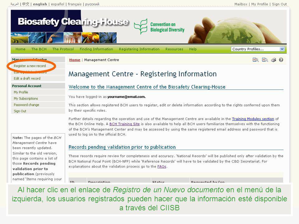 Al hacer clic en el enlace de Registro de un Nuevo documento en el menú de la izquierda, los usuarios registrados pueden hacer que la información esté