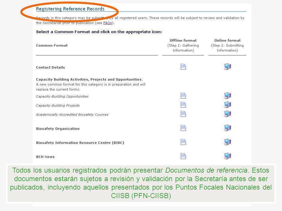 Todos los usuarios registrados podrán presentar Documentos de referencia. Estos documentos estarán sujetos a revisión y validación por la Secretaría a
