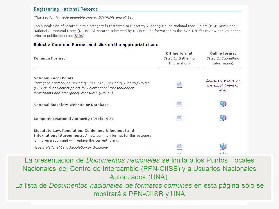 La presentación de Documentos nacionales se limita a los Puntos Focales Nacionales del Centro de Intercambio (PFN-CIISB) y a Usuarios Nacionales Autor