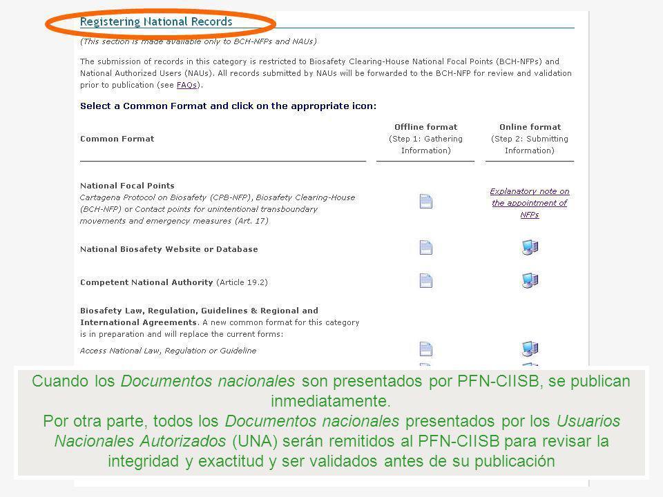Cuando los Documentos nacionales son presentados por PFN-CIISB, se publican inmediatamente. Por otra parte, todos los Documentos nacionales presentado