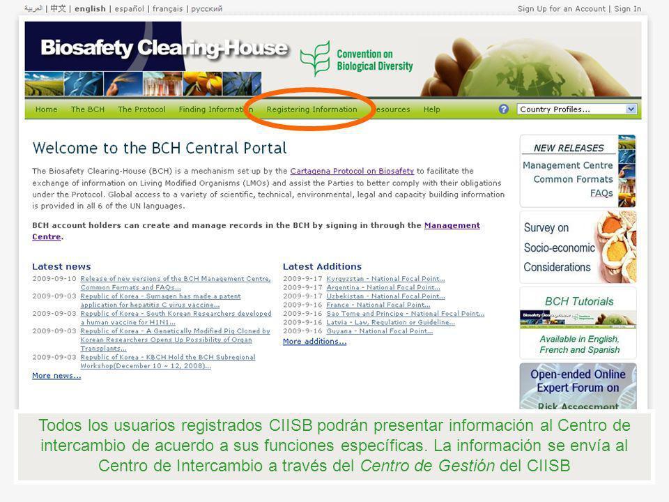 Todos los usuarios registrados CIISB podrán presentar información al Centro de intercambio de acuerdo a sus funciones específicas. La información se e