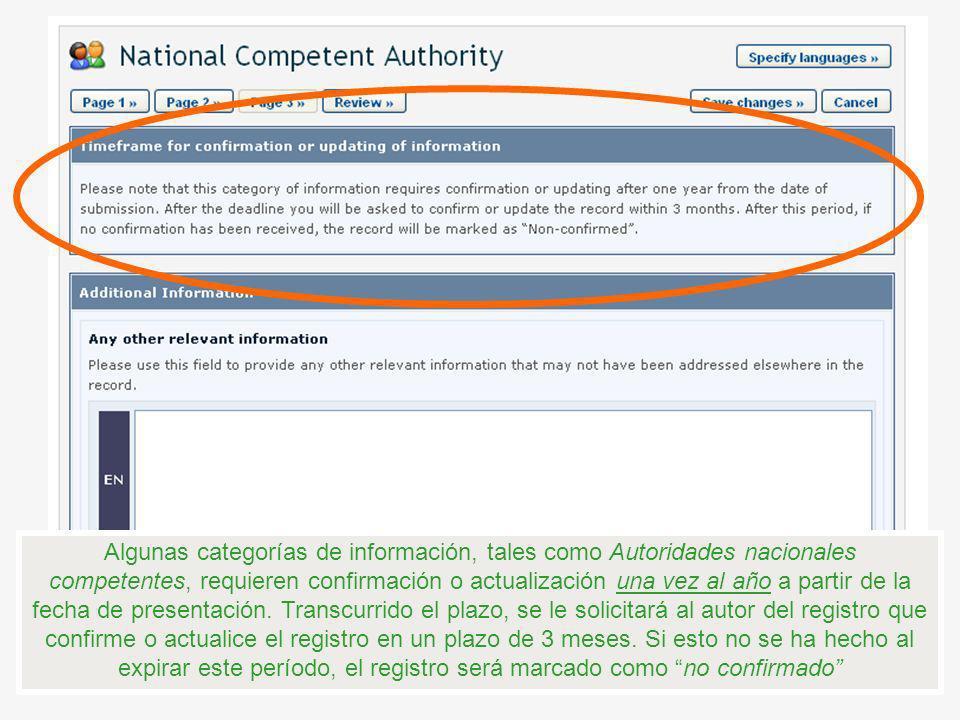 Algunas categorías de información, tales como Autoridades nacionales competentes, requieren confirmación o actualización una vez al año a partir de la