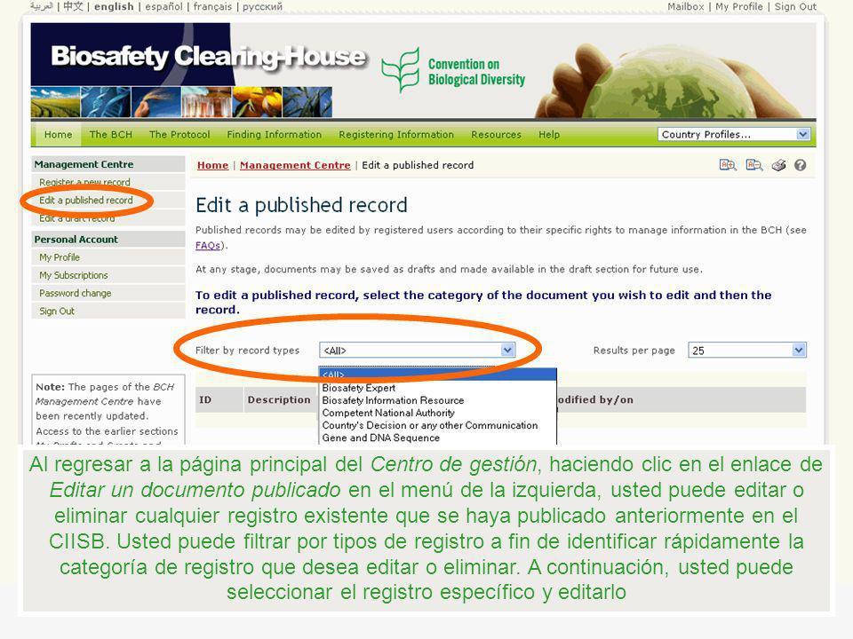 Al regresar a la página principal del Centro de gestión, haciendo clic en el enlace de Editar un documento publicado en el menú de la izquierda, usted