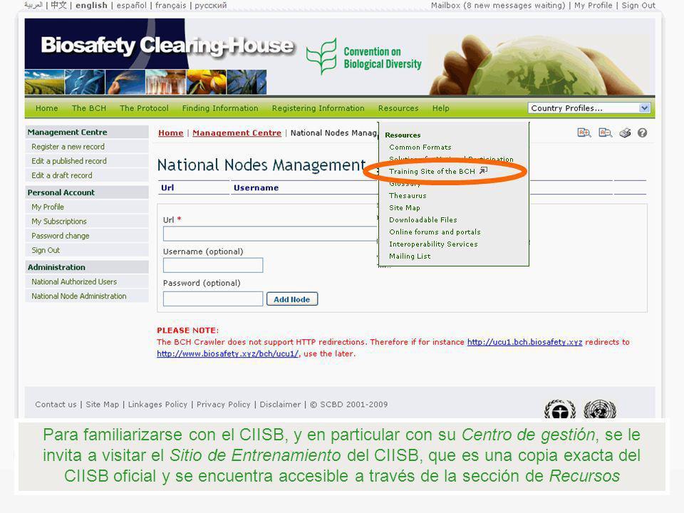 Para familiarizarse con el CIISB, y en particular con su Centro de gestión, se le invita a visitar el Sitio de Entrenamiento del CIISB, que es una cop