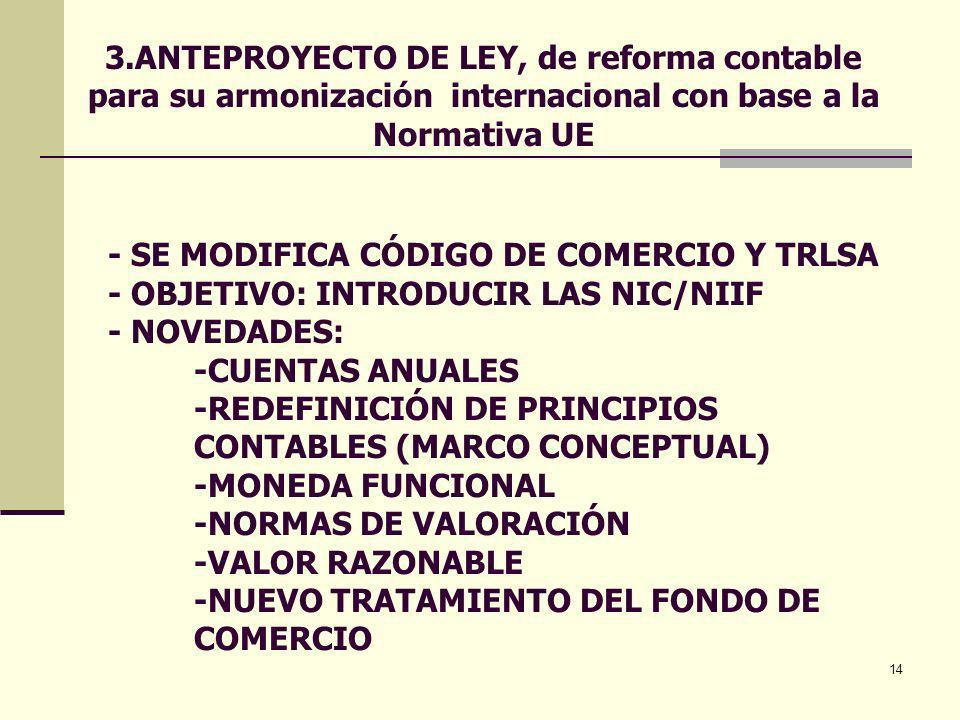 14 - SE MODIFICA CÓDIGO DE COMERCIO Y TRLSA - OBJETIVO: INTRODUCIR LAS NIC/NIIF - NOVEDADES: -CUENTAS ANUALES -REDEFINICIÓN DE PRINCIPIOS CONTABLES (M