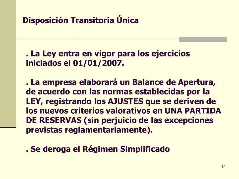 17. La Ley entra en vigor para los ejercicios iniciados el 01/01/2007.. La empresa elaborará un Balance de Apertura, de acuerdo con las normas estable