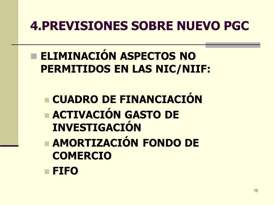 19 4.PREVISIONES SOBRE NUEVO PGC ELIMINACIÓN ASPECTOS NO PERMITIDOS EN LAS NIC/NIIF: CUADRO DE FINANCIACIÓN ACTIVACIÓN GASTO DE INVESTIGACIÓN AMORTIZA