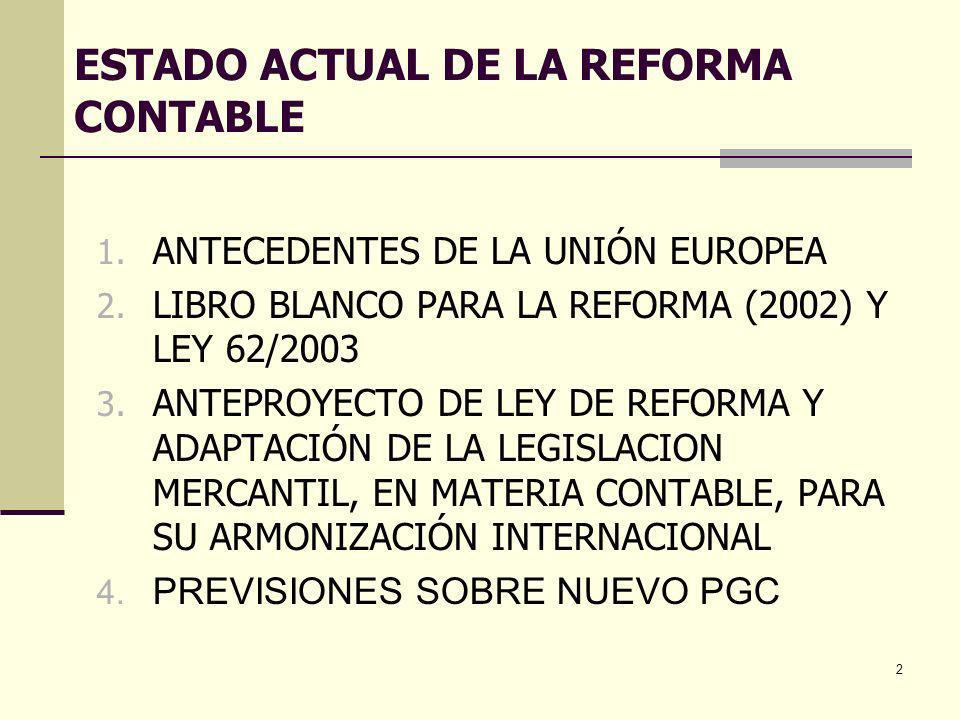 2 ESTADO ACTUAL DE LA REFORMA CONTABLE 1. ANTECEDENTES DE LA UNIÓN EUROPEA 2. LIBRO BLANCO PARA LA REFORMA (2002) Y LEY 62/2003 3. ANTEPROYECTO DE LEY