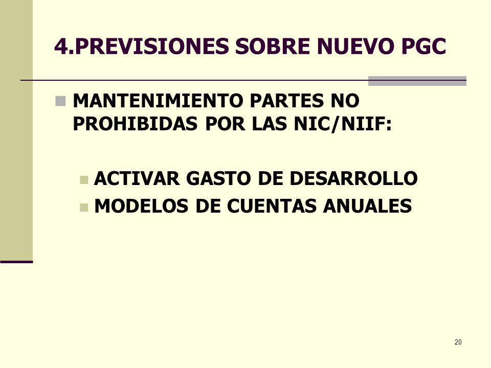 20 4.PREVISIONES SOBRE NUEVO PGC MANTENIMIENTO PARTES NO PROHIBIDAS POR LAS NIC/NIIF: ACTIVAR GASTO DE DESARROLLO MODELOS DE CUENTAS ANUALES