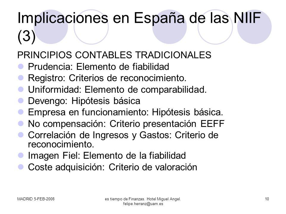 MADRID 5-FEB-2008es tiempo de Finanzas. Hotel Miguel Angel. felipe.herranz@uam.es 10 Implicaciones en España de las NIIF (3) PRINCIPIOS CONTABLES TRAD