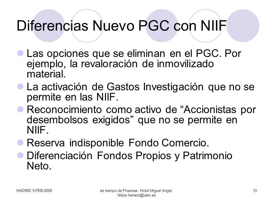 MADRID 5-FEB-2008es tiempo de Finanzas. Hotel Miguel Angel. felipe.herranz@uam.es 13 Diferencias Nuevo PGC con NIIF Las opciones que se eliminan en el