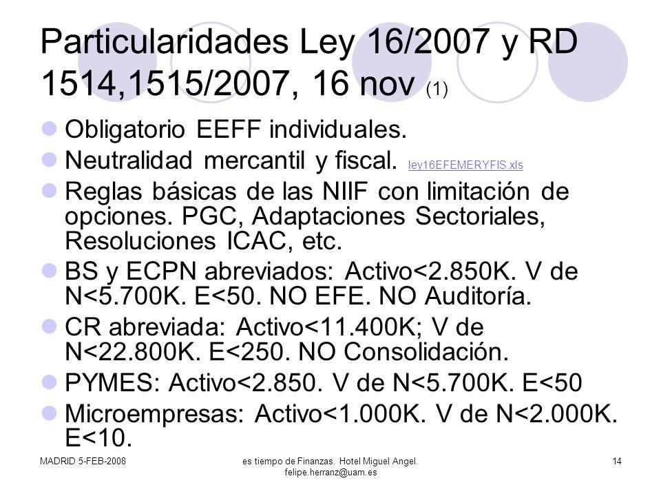 MADRID 5-FEB-2008es tiempo de Finanzas. Hotel Miguel Angel. felipe.herranz@uam.es 14 Particularidades Ley 16/2007 y RD 1514,1515/2007, 16 nov (1) Obli