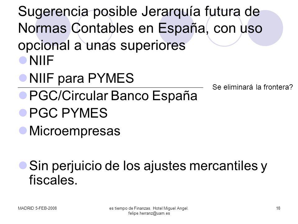 MADRID 5-FEB-2008es tiempo de Finanzas. Hotel Miguel Angel. felipe.herranz@uam.es 18 Sugerencia posible Jerarquía futura de Normas Contables en España