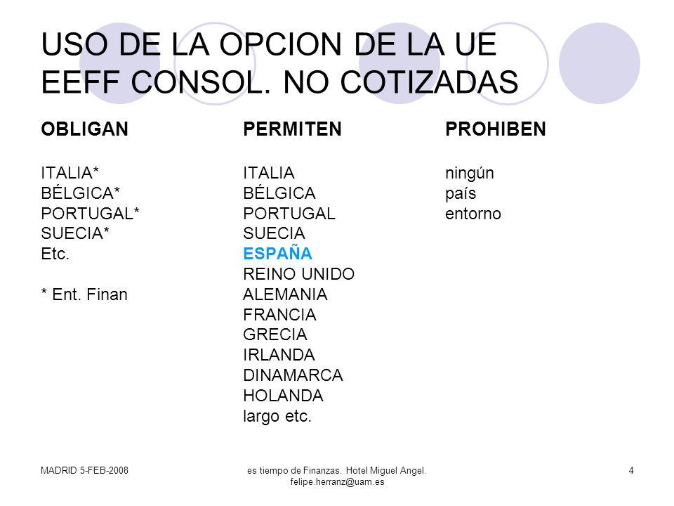 MADRID 5-FEB-2008es tiempo de Finanzas. Hotel Miguel Angel. felipe.herranz@uam.es 4 USO DE LA OPCION DE LA UE EEFF CONSOL. NO COTIZADAS OBLIGANPERMITE