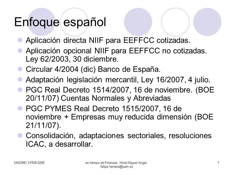 MADRID 5-FEB-2008es tiempo de Finanzas. Hotel Miguel Angel. felipe.herranz@uam.es 7 Enfoque español Aplicación directa NIIF para EEFFCC cotizadas. Apl