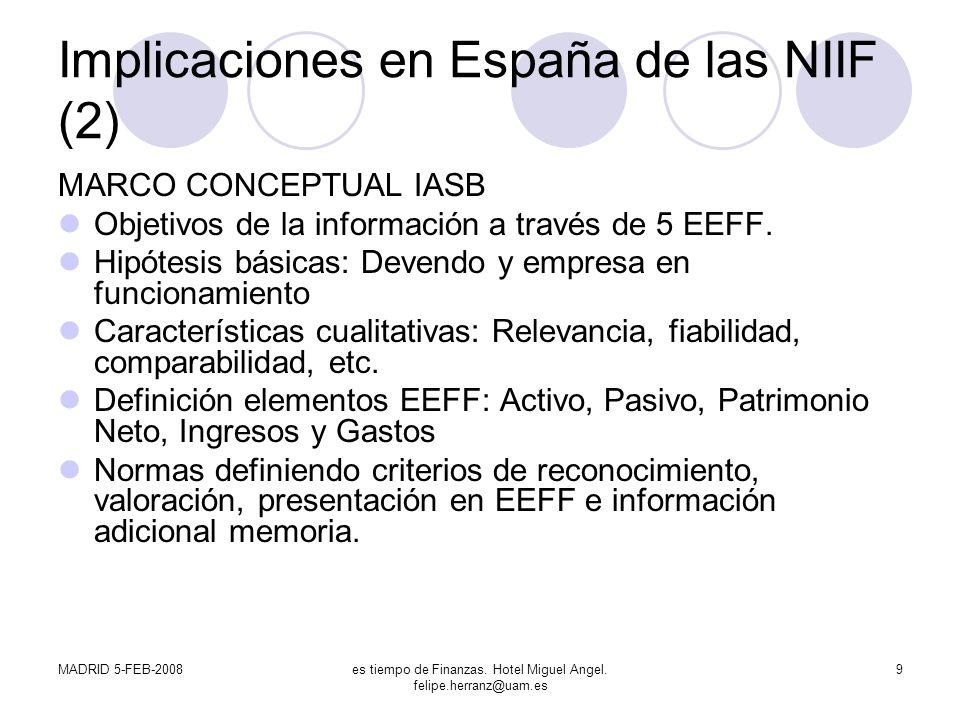MADRID 5-FEB-2008es tiempo de Finanzas. Hotel Miguel Angel. felipe.herranz@uam.es 9 Implicaciones en España de las NIIF (2) MARCO CONCEPTUAL IASB Obje