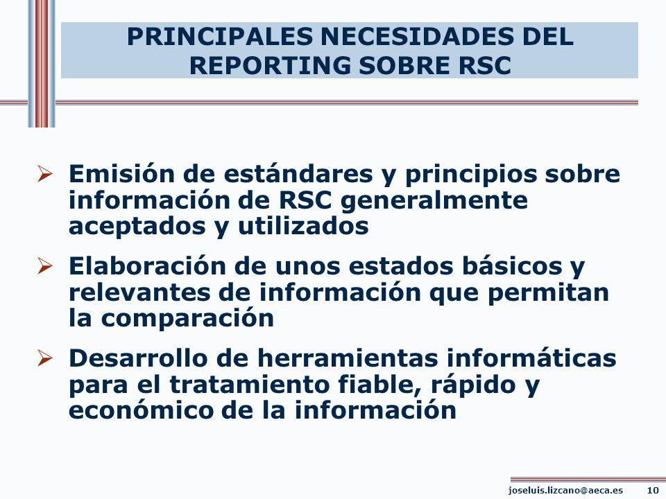 PRINCIPALES NECESIDADES DEL REPORTING SOBRE RSC joseluis.lizcano@aeca.es 10 Emisión de estándares y principios sobre información de RSC generalmente a
