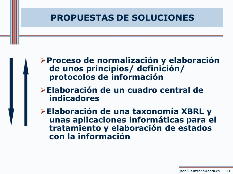 PROPUESTAS DE SOLUCIONES Proceso de normalización y elaboración de unos principios/ definición/ protocolos de información Elaboración de un cuadro cen