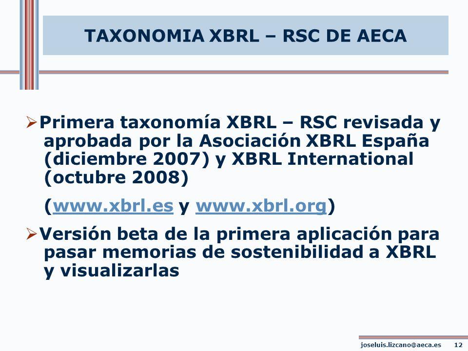 TAXONOMIA XBRL – RSC DE AECA Primera taxonomía XBRL – RSC revisada y aprobada por la Asociación XBRL España (diciembre 2007) y XBRL International (oct