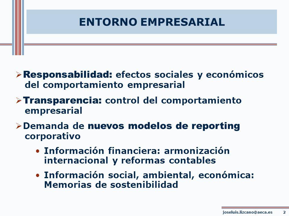 joseluis.lizcano@aeca.es 33 NUMERO INDICADORES SELECCIONADOS INDICADORES ESTUDIO MEMORIAS CUESTIONARIOCCI 1CCI 2 Económicos1299 Ambientales1177 Empleados13107 Clientes743 Accionistas433 Proveedores321 Comunidad422 TOTALES543732