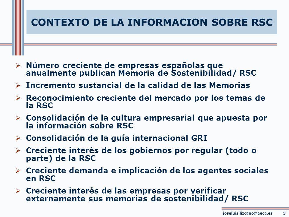 CONTEXTO DE LA INFORMACION SOBRE RSC Número creciente de empresas españolas que anualmente publican Memoria de Sostenibilidad/ RSC Incremento sustanci