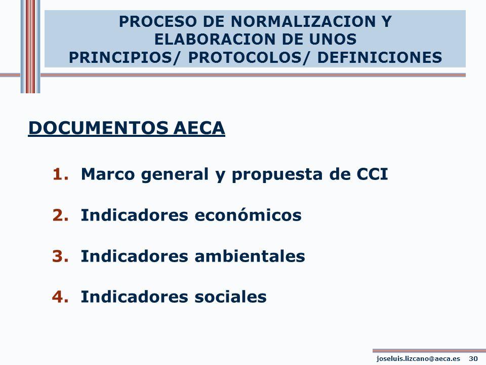 PROCESO DE NORMALIZACION Y ELABORACION DE UNOS PRINCIPIOS/ PROTOCOLOS/ DEFINICIONES DOCUMENTOS AECA 1. Marco general y propuesta de CCI 2. Indicadores