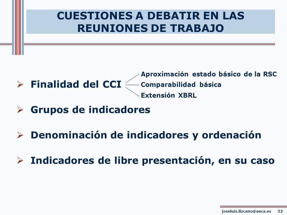 Finalidad del CCI Grupos de indicadores Denominación de indicadores y ordenación Indicadores de libre presentación, en su caso joseluis.lizcano@aeca.e