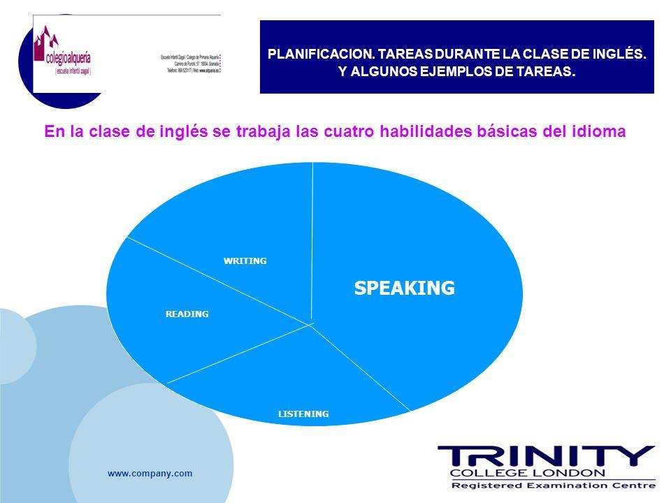 www.company.com PLANIFICACION. TAREAS DURANTE LA CLASE DE INGLÉS. Y ALGUNOS EJEMPLOS DE TAREAS. En la clase de inglés se trabaja las cuatro habilidade